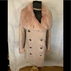 Burberry pale pink shearling double breasted jacke